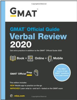 GMAT Official Guide 2020 Verbal